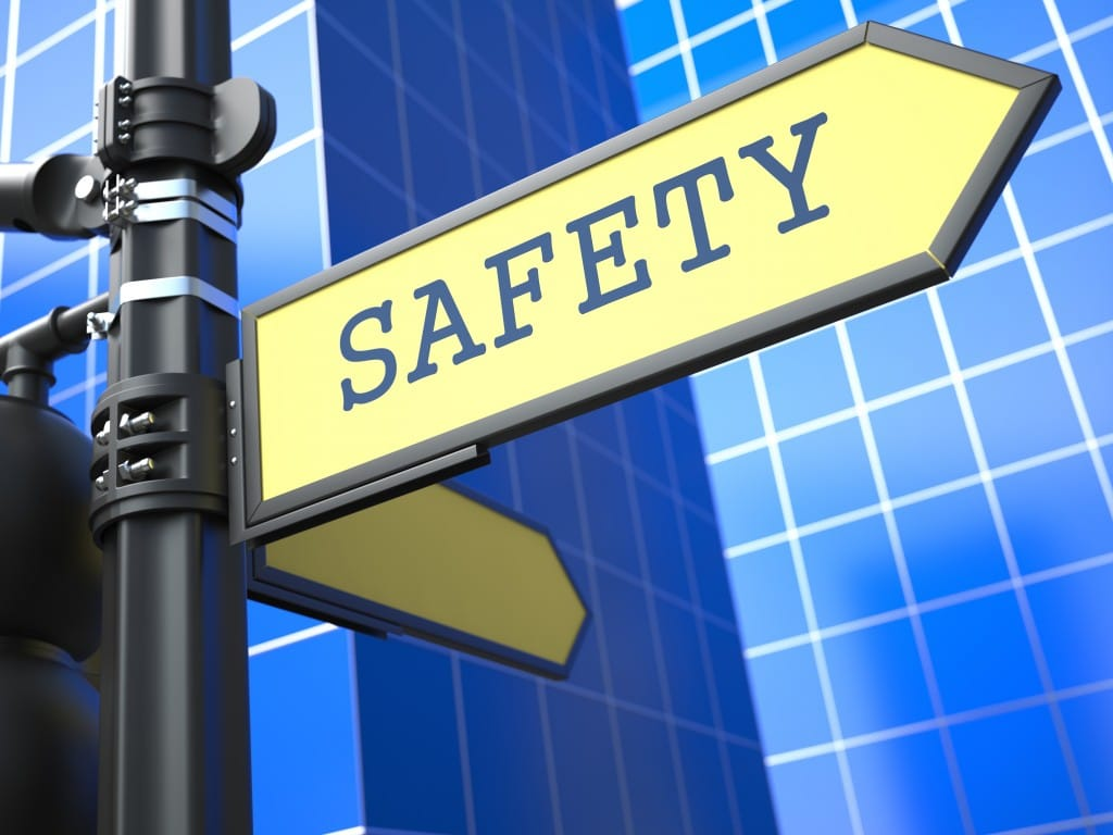 afety Sign on Blue Background
