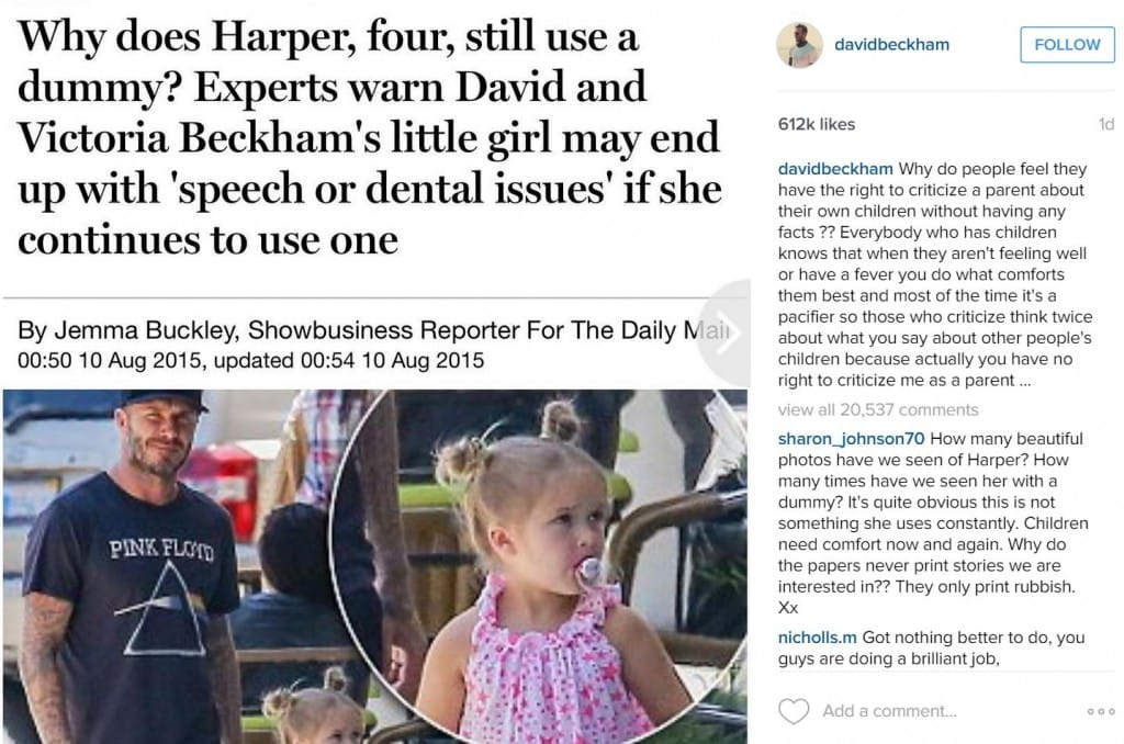 David Beckham Repsonds to Daily Mail